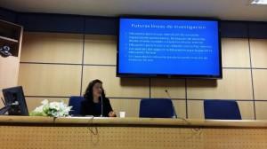 """Gloria María Abarca Obregón en su defensas de la tesis doctoral """"La Praxis de la Educación para la Paz desde la Paz Holística"""" el 10/02/2014"""